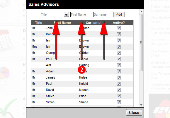 Adding a new sales advisor to EVHC