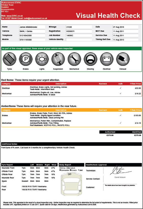 Sample Electronic Vehicle Health Check